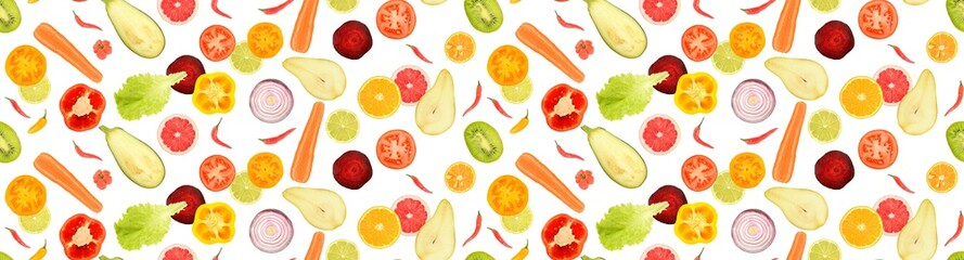Wall Mural - Seamless texture. Pattern of cut fresh fruits and vegetables.