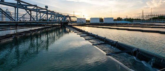 Fototapeta Banner photo of Recirculation Solid contact Clarifier Sedimentation Tank in Water treatment plant. Microbiology of drinking water production and distribution concept obraz