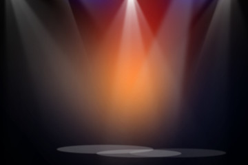 Fototapete - The concert stage theater background with flood lights, an abstract empty floor showcase on spotlights background.