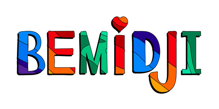 Bemidji - multicolored bright colorful funny cartoon isolated inscription. Colorful bright letters. For posters, banner, flyer, card, souvenir, prints on clothing. Bemidji - city and Lake in Minnesota
