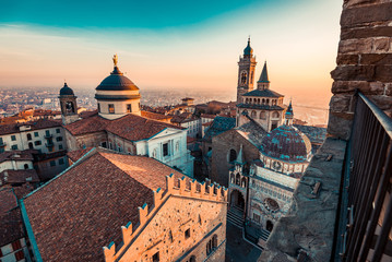 Fotomurales - Bergamo city view from the old civic tower at sunset Beautiful Italy travel destinations