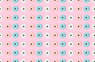 Pink, blue and white Chamomile or gerbera seamless floral pattern.