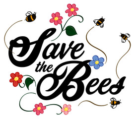 Save The Bees Word Art