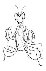 Line Art Cartoon Orchid Mantis