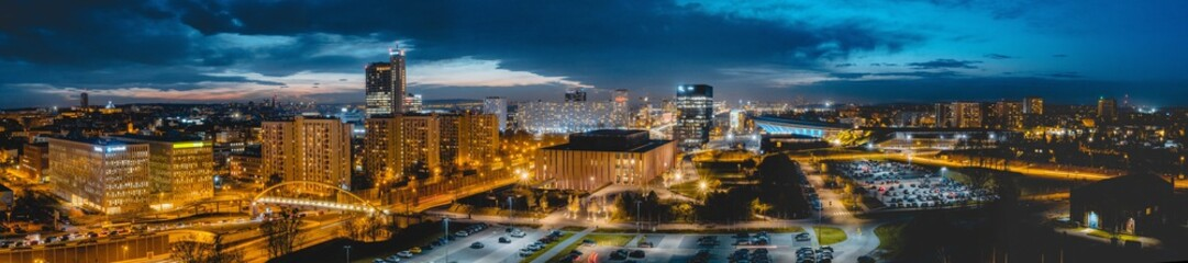 Photo sur Toile Bleu nuit Katowice - Panorama