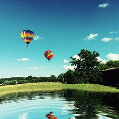 Printed roller blinds Balloon Hot Air Balloons Flying Over River Against Sky