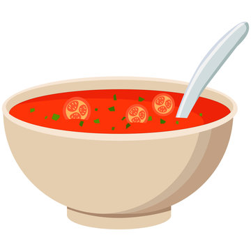 Picture of a bowl of soup on a white background. Vector illustration