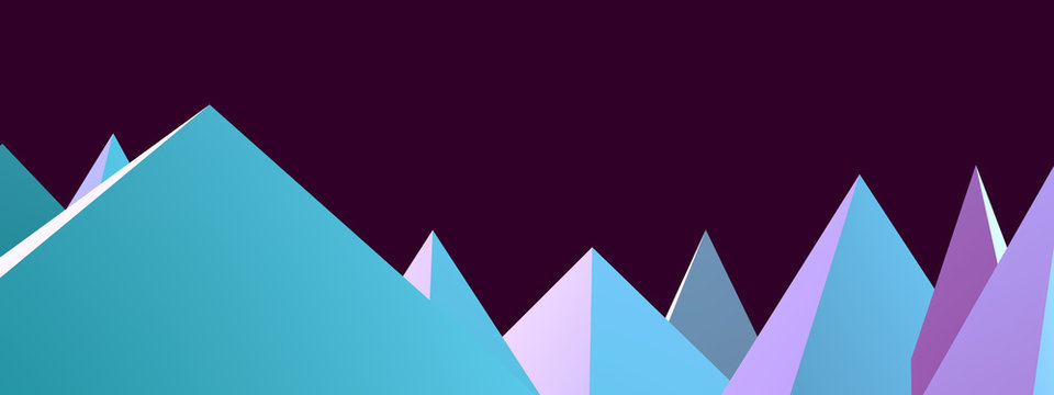 The city of the pyramids. Low poly mountains peaks. Shards, icicle teeth. Beautiful and modern abstract background. Fashionable design.