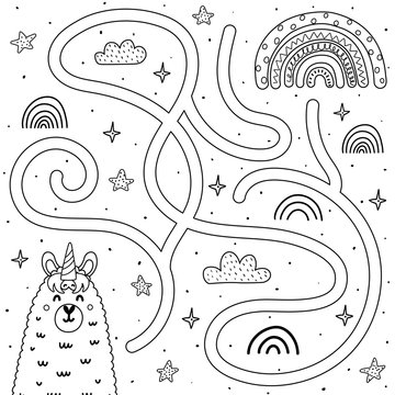 Help the llamacorn get to the rainbow. Black and white maze game