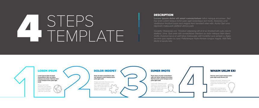 Progress steps thin line template