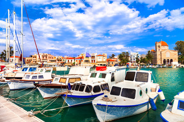 pictorial idyllic traditional greek islands - Aegina , Saronic Gulf, Greece