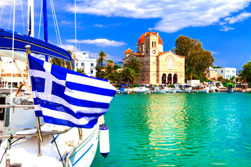 Traditional greek fishing villages. Aegina island. Popular tourist destination