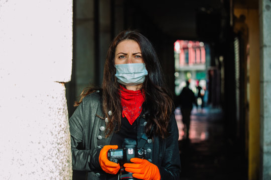 Photographer working on Covid period in Madrid, Spain