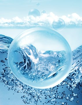 Blue bubble with water and waves and clouds