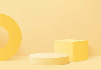 Minimal Podium and scene with 3d render vector in abstract yellow background composition, 3d illustration mock up scene geometry shape platform forms for product display. stage for awards in modern. - fototapety na wymiar
