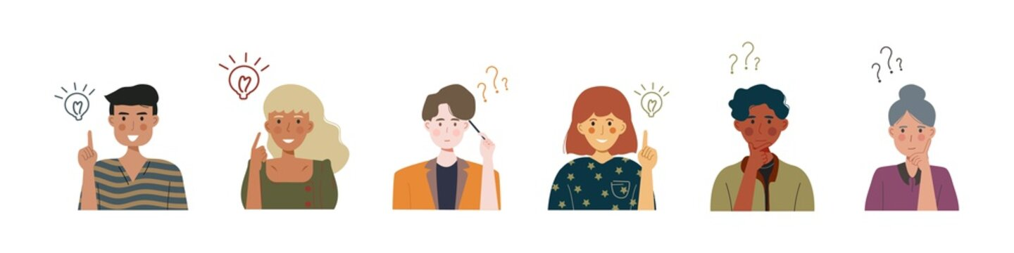 Thoughtful people. Man, Woman are thinking. People have good idea. Question mark. Vector illustration.