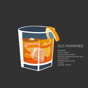 Vector illustration alcohol cocktail Old Fashioned glass bourbon