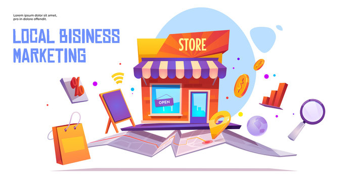 Local business marketing banner template. Seo, start up project financing support service. Small business, shop or store building stand on map. Market construction city project, cartoon illustration