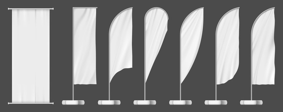 Set of flag banners, outdoor advertising templates