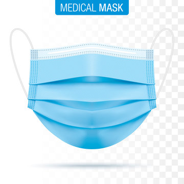 Medical blue face mask isolated on transparent background. Corona virus protection surgical mouth mask with shadow. Three layer, disease and pollution protective mask for personal safety. Vector file.