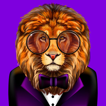Lion. Creative, colorful, hand-drawn portrait lion with glasses and bow tie dressed in a tuxedo on a purple background.