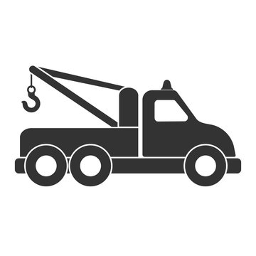 Vector icon of a tow truck or technical assistance. Isolated on a white background