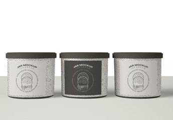 Three Ice Cream Jar Packaging Mockup