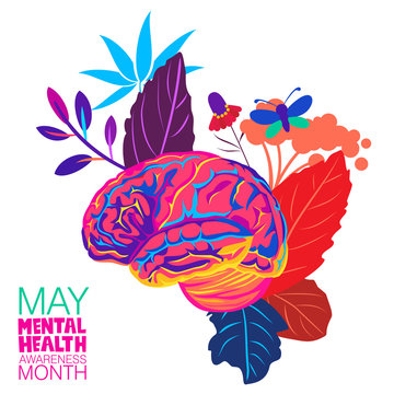 An abstract vector illustration on Mental Health Awareness month