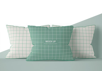 Three Square Pillow Mockup