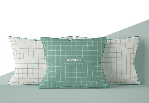 Three Square Pillow Mockup