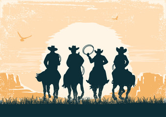 Cowboys silhouette riding horses at sunset landscape. Vintage vector prairie desert with sun and canyon on old paper texture background Papier Peint