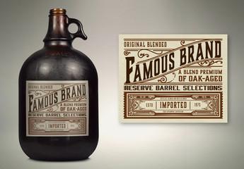 Vintage Liquor Bottle Packaging Layout