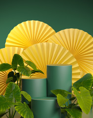 Mockup Empty Green Platform Tropical Plants On Yellow Chinese Fan 3d Render