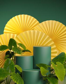 Mockup Empty Green Platform Tropical Plants On Yellow Chinese Fan 3d Render