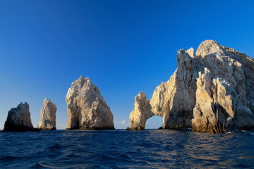 The Arch and surrounding rock formations at Lands End in Cabo San Lucas, Mexico