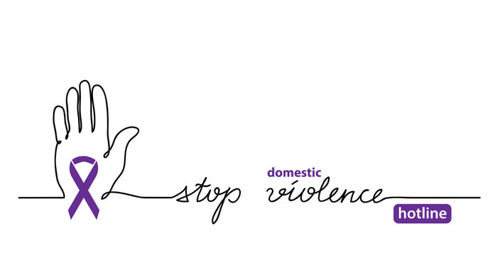Stop domestic violence hotline. Hand and violet ribbon simple vector web banner, background,illustration. One continuous line drawing banner against domestic violence.