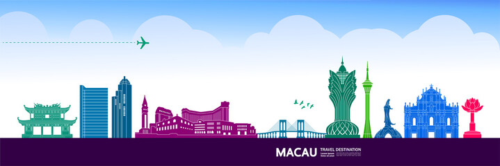 Fototapete - Macau travel destination grand vector illustration.