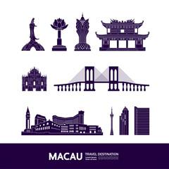 Fototapete - Macau travel destination grand vector illustration.
