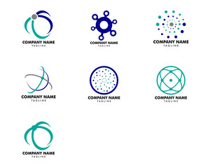 Set of Abstract Network Connection Icon Logo Design Vector Illustration