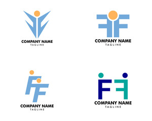 Set of Initial Letter FF Logo with People Design Vector