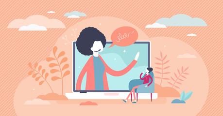 Obraz Webinar female vector illustration. Online course flat tiny persons concept - fototapety do salonu
