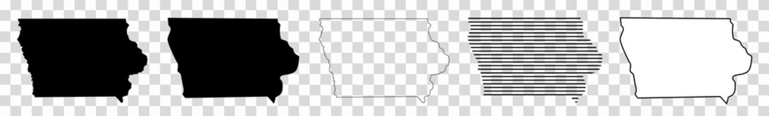 Iowa Map Black | State Border | United States | US America | Transparent Isolated | Variations