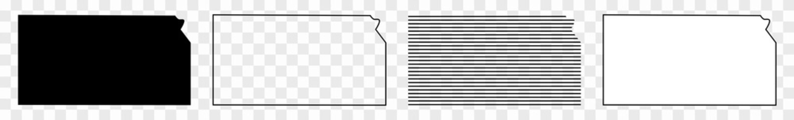 Kansas Map Black | State Border | United States | US America | Transparent Isolated | Variations