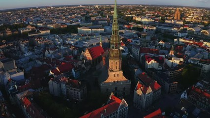 Fotomurales - Aerial view of Riga old town during magical sunset in Latvia.