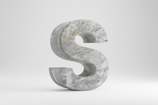 Stone 3d letter S uppercase. Rock textured letter isolated on white background. 3d rendered stone font character.