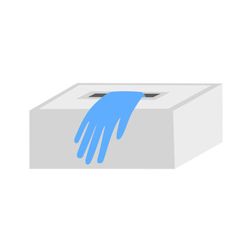 blue disposable gloves in a box