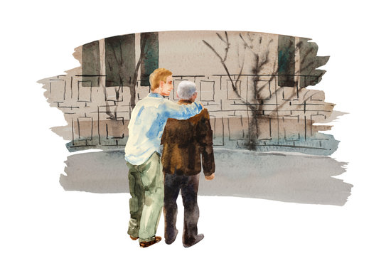 Young man comforting sad senior person on the street. Alzheimer or dementia watercolor concept illustration