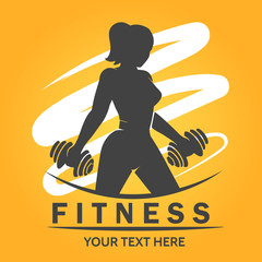 Fitness Logo with woman lifting weights