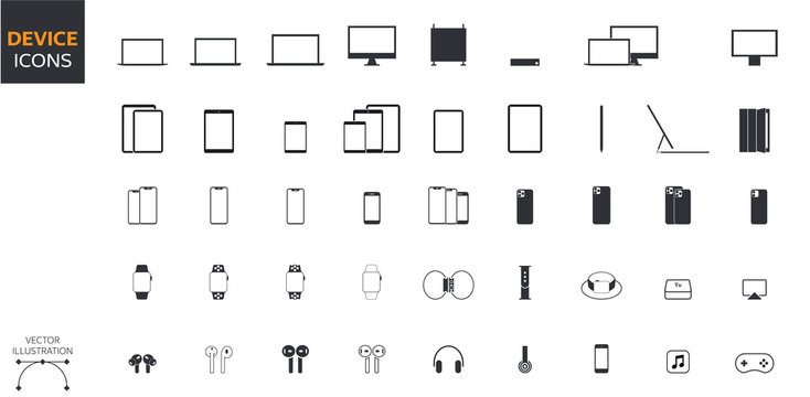 Device Icons Set: Desktop Computer, Laptop, Tablet, Smartphone, Headphones, Watch, Gadgets and Accessories in Vector Style for Web and App
