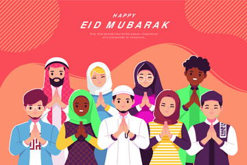 Eid Mubarak Cartoon Greeting Card
